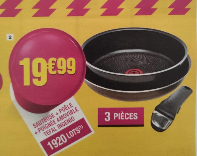 Sauteuse + poêle + poignée amovible Tefal Ingenio 229750 (non compatibles induction)