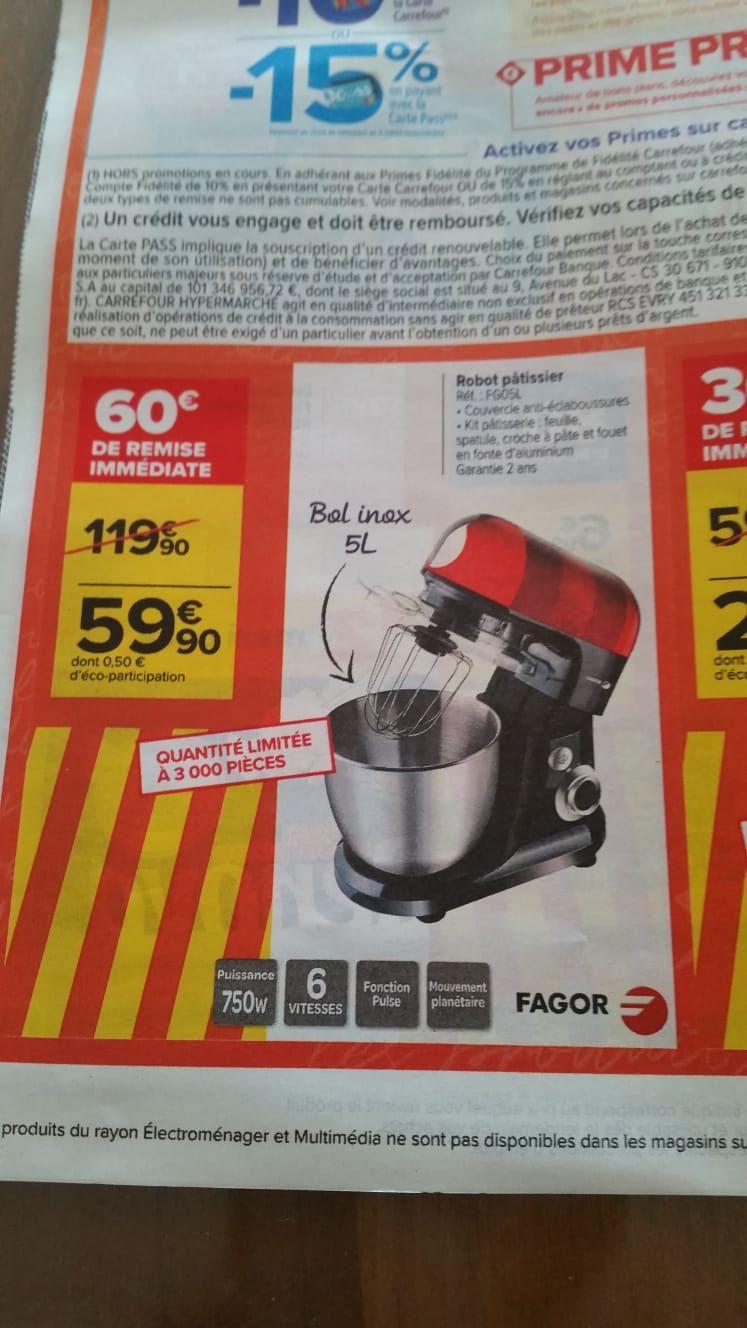 Robot pâtissier FAGOR FG5L - 5L, 750W, Noir/Rouge