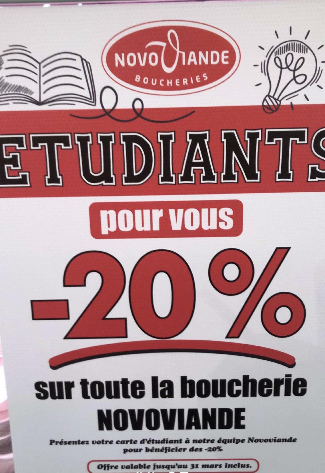 [Étudiants] 20% de réduction sur la boucherie Novoviande - Fresnes (94), Noisiel (94), Villepinte (93), Éragny-sur-Oise (95)