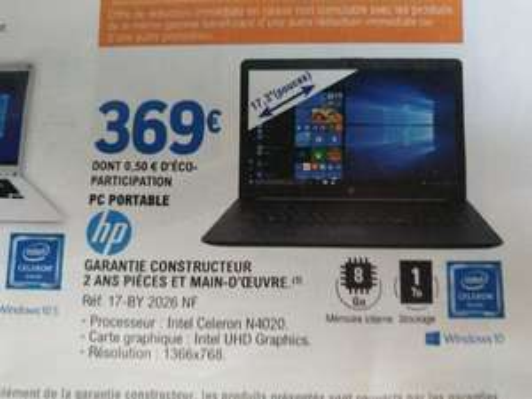 "PC Portable 17.3"" HP 17-by-2026nf - HD, Celeron N4020, 8 Go RAM, 1 To HDD, Windows 10"