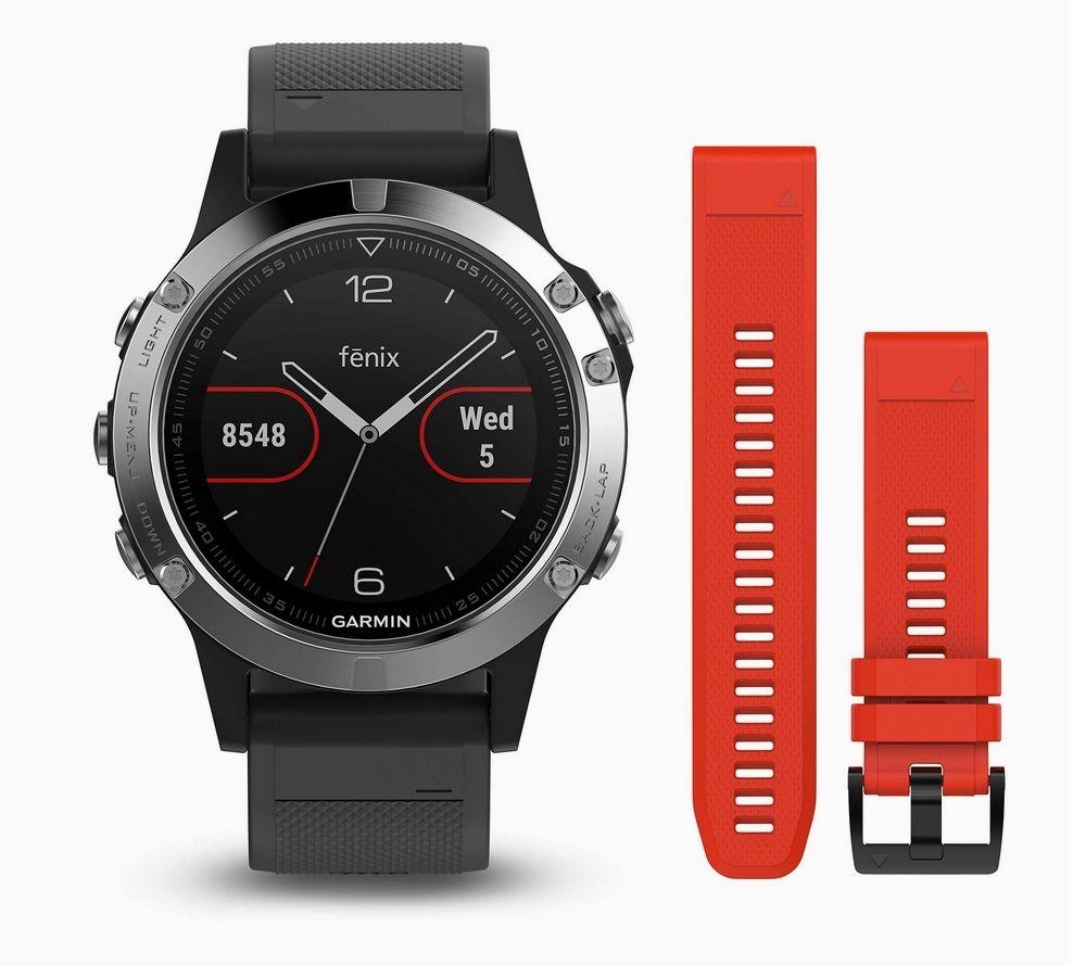 Montre connectée Garmin Fenix 5 (47 mm, noir) + Bracelet supplémentaire (rouge)