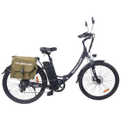 """Vélo électrique 26"""" Vélobécane Easy - Vitesses, Freins à disques, Autonomie 75km, Cadre aluminium, Noir"""