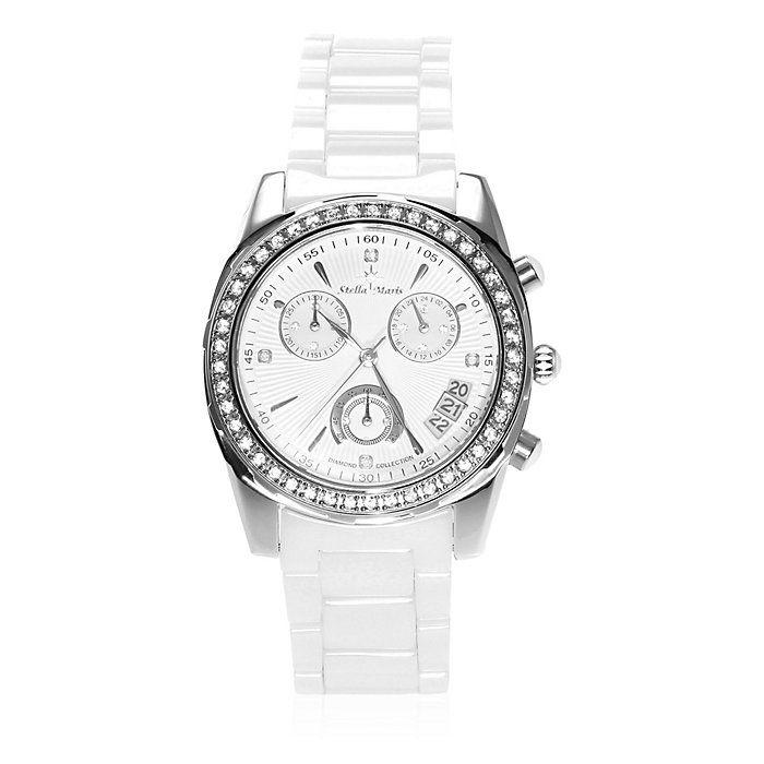 Montre en céramique chronographe Stella Maris - Eléments Swarovski, 5 diamants 0.01 ct