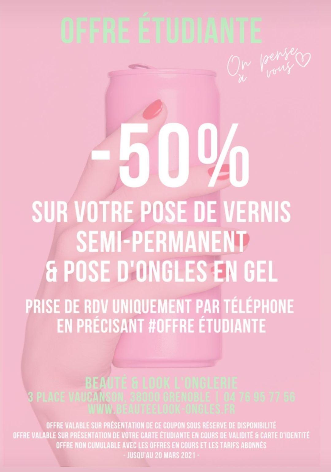 [Etudiantes] 50% de réduction sur la pose de vernis semi permanent & pose d'ongles en gel - Beauté et Look Grenoble (38)