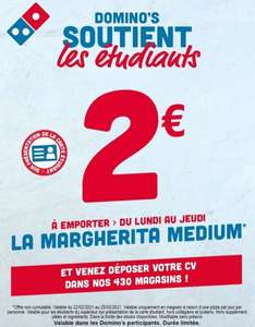 [Étudiants - du Lundi au Jeudi] Pizza Margherita Medium à Emporter (Magasins participants)