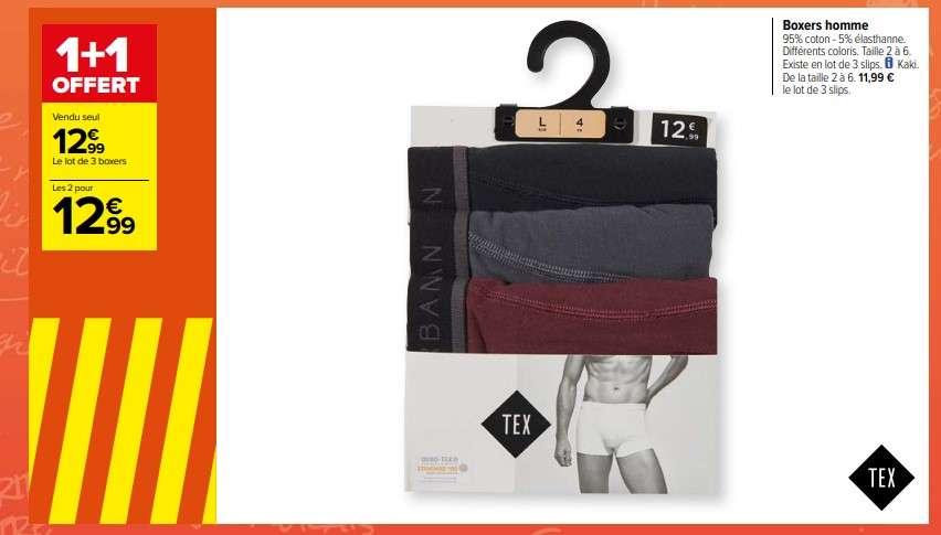 Lot de 2 packs de 3 boxers ou slips Tex - différents coloris (du 2 au 6)