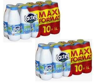 Lot de 2 packs de 10 bouteilles de lait Lactel UHT demi-écrémé ou écrémé - 20x1 L