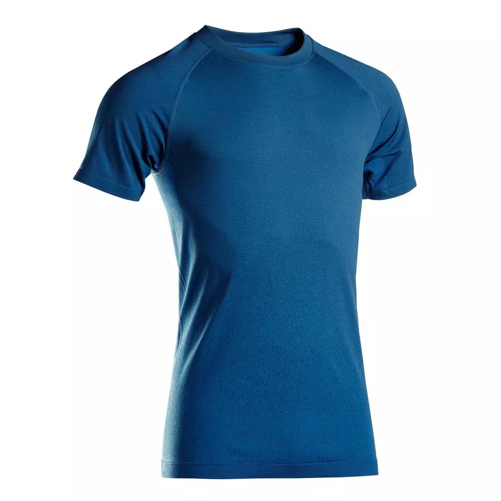 T-Shirt Homme manches courtes sans coutures Kimjaly Yoga - Bleu