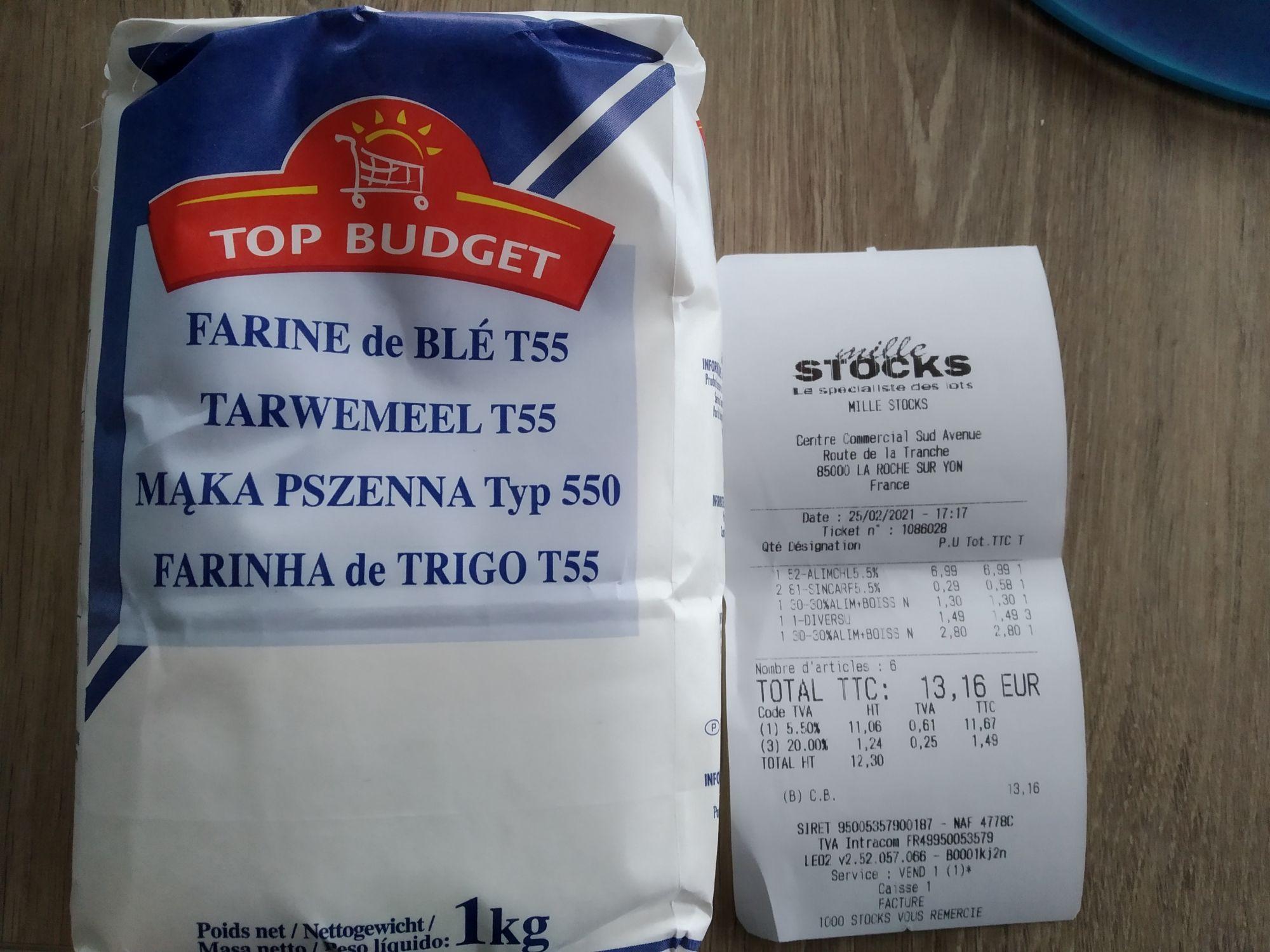 Sac de 1kg de Farine de blé T55 Top Budget - Mille Stocks La Roche sur Yon (85)