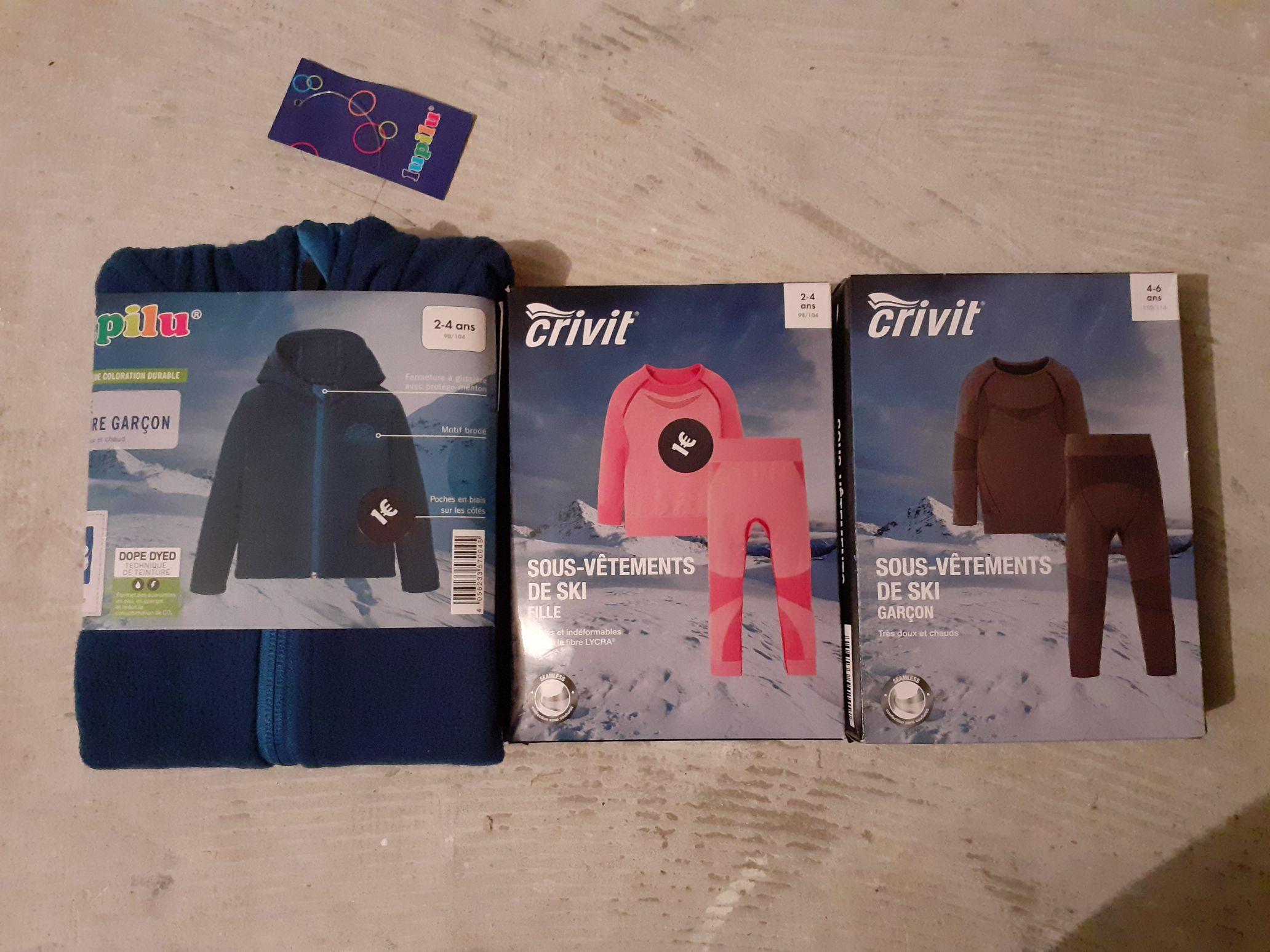 Sélection de vêtements de ski Crivit en Soldes à 1€ pour enfants - Crolles (38)