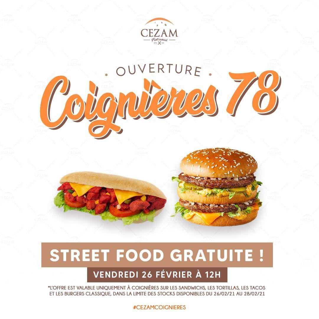 1 Sandwich, Tortilla, Tacos ou Burger Classique Gratuit au choix - Cezam Coignières (78)