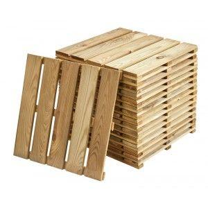 Lot de 6 dalles en pin pour terrasse extérieure - 40 x 40 x 2.4 cm