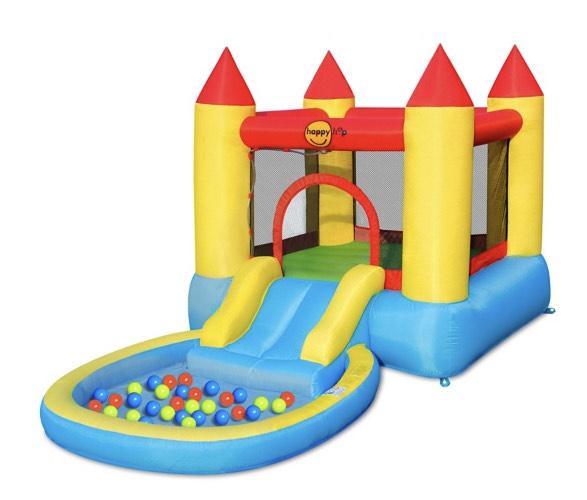 Piscine château gonflable avec toboggan et aire de jeux (365x190x200cm) + Accessoires : Gonfleur électrique + Sac de rangement + 30 balles