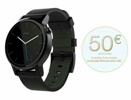 Montre connectée Motorola Moto 360 V2, noir, homme, 42mm (via ODR 50€)