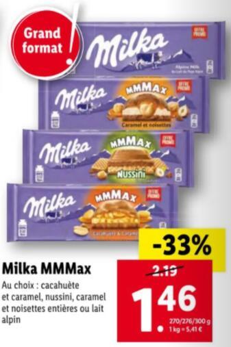 Sélection chocolat en réduction : Ex : Tablette de chocolat Milka Mmmax - 300g, différents parfums au choix