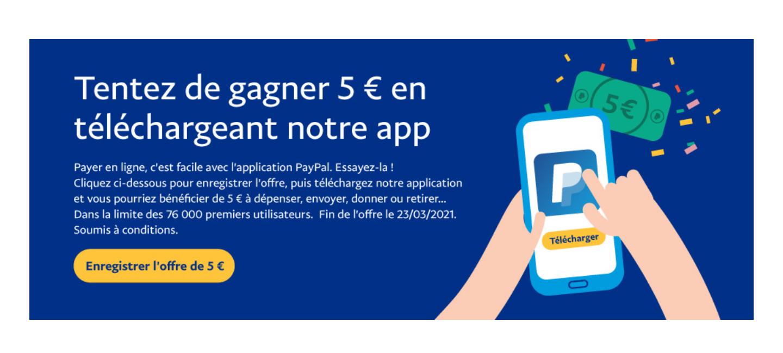 [Sous conditions] 5€ offerts en téléchargeant l'Application