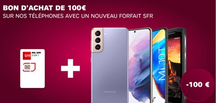 Bon d'achat d'une valeur de 100€ pour 50€ valable sur l'achat d'un téléphone + forfait SFR (avec engagement 12 mois minimum)