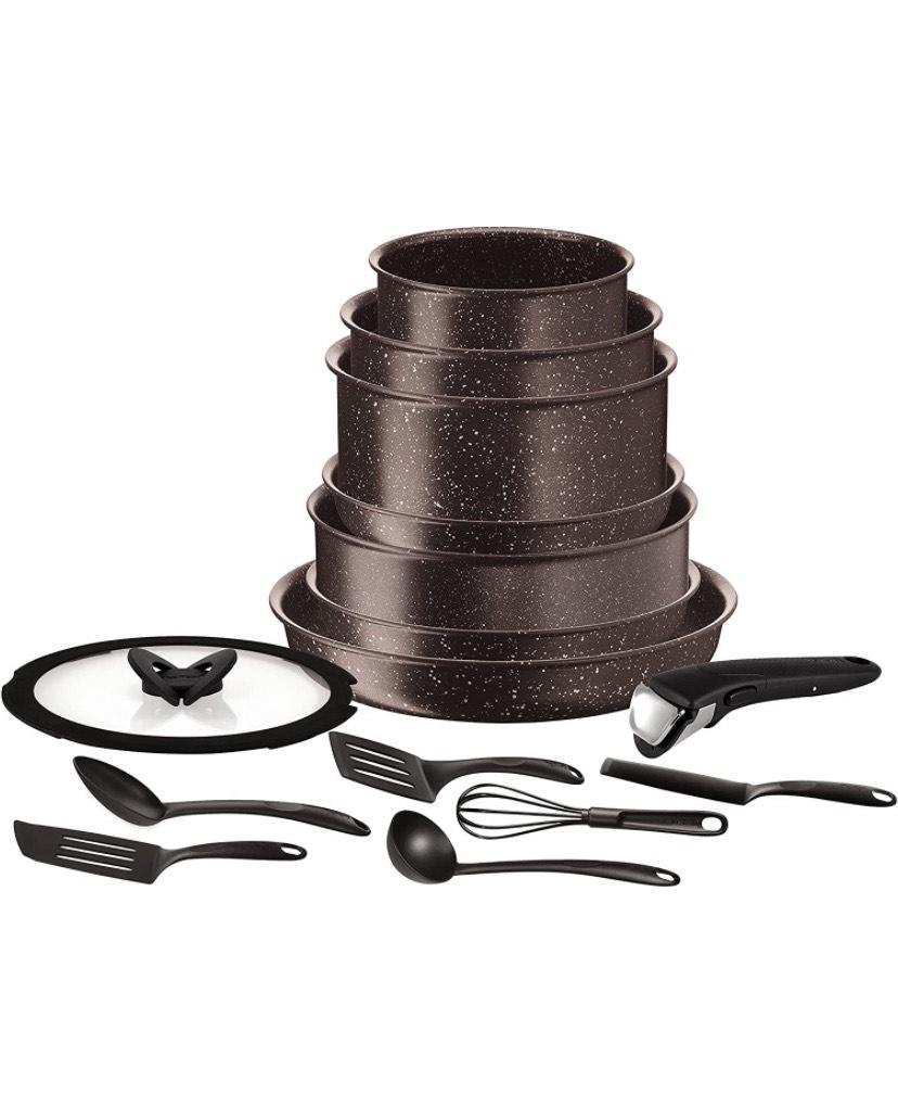 Batterie de cuisine Tefal L6789102 Ingenio extrême - 15 pièces, Marron effet pierre