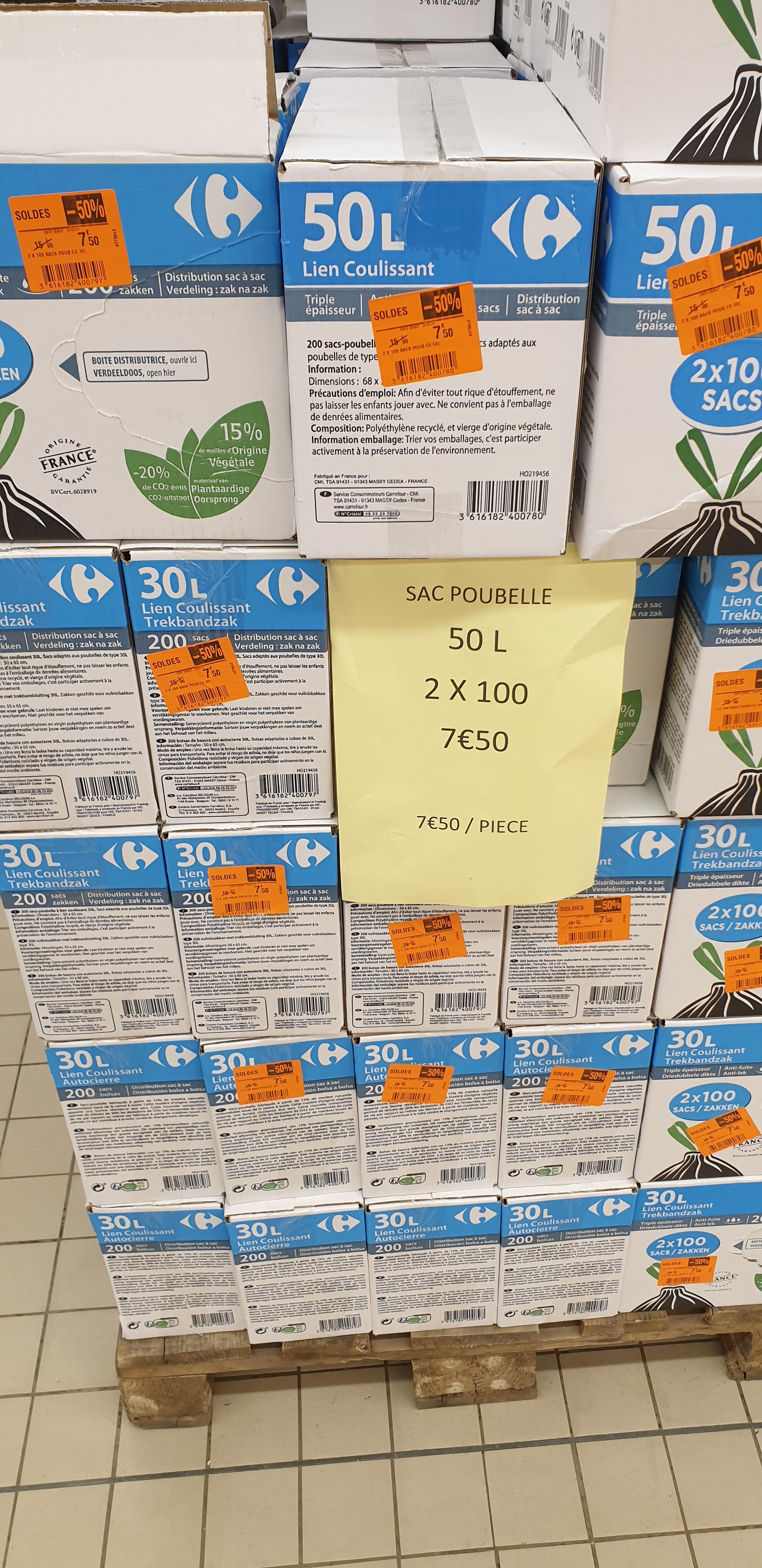 Lot de 2 boîtes de 100 sacs poubelles 50L ou 30L- Étiolles (91)