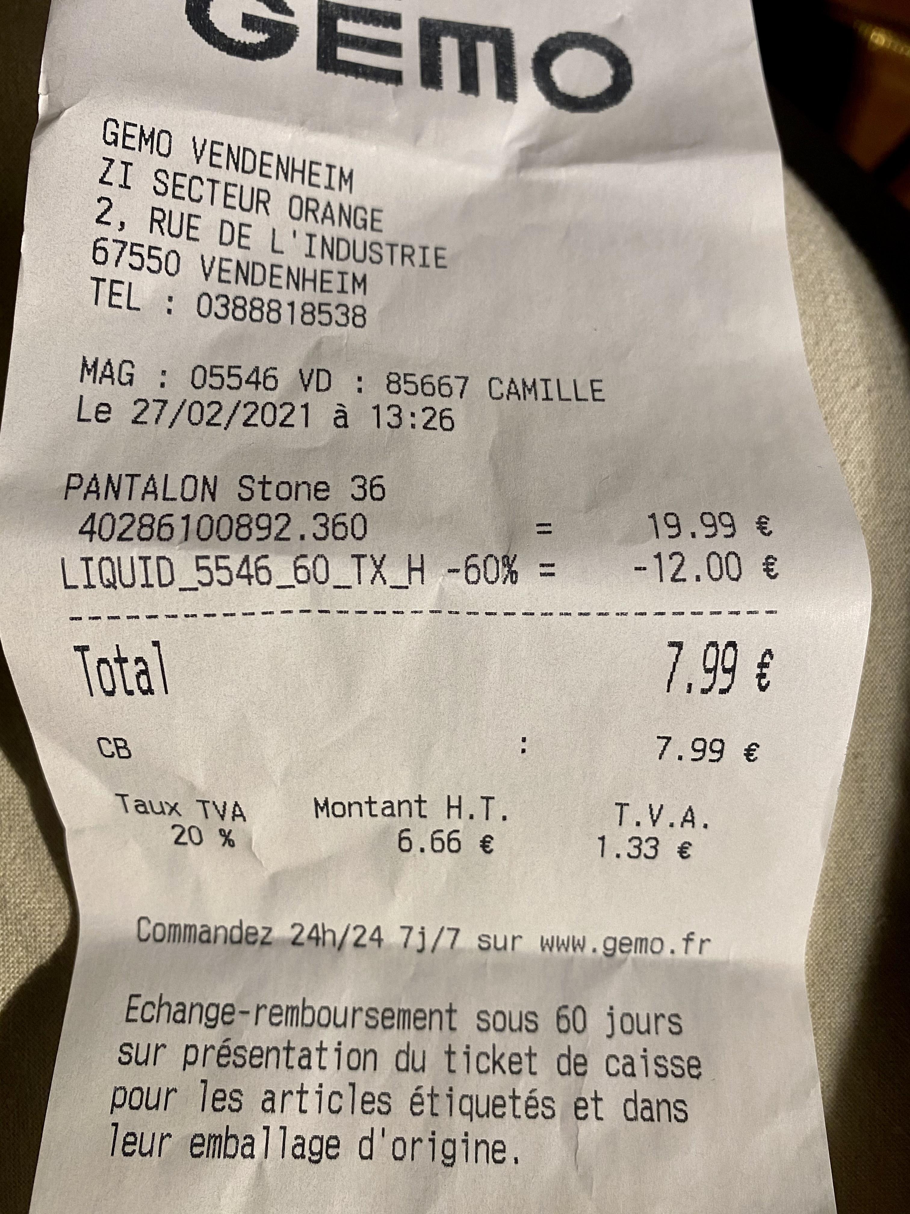 60% de réduction sur tout le magasin - Gemo vendenheim (67)