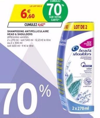 Lot de 2 shampooings anti-pelliculaire Head & Shoulders 270ML (avec 4.62€ sur la carte)