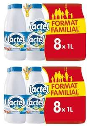 Lot de 2 packs de 8 bouteilles de lait Lactel UHT demi-écrémé ou écrémé - 16 x 1 L