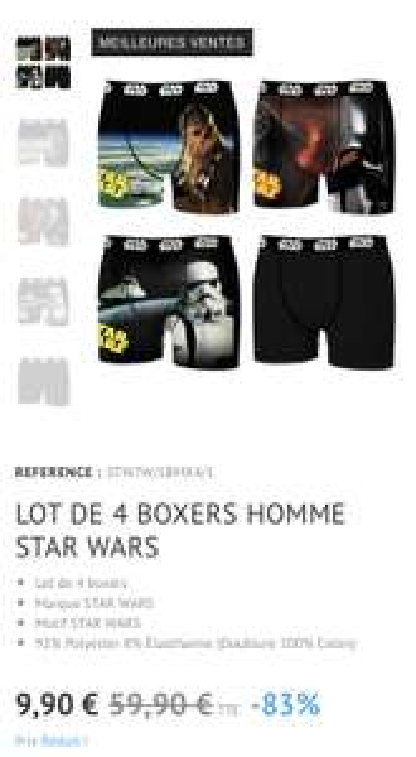 Lot de 4 Boxers Freegun Star Wars - Du S au L