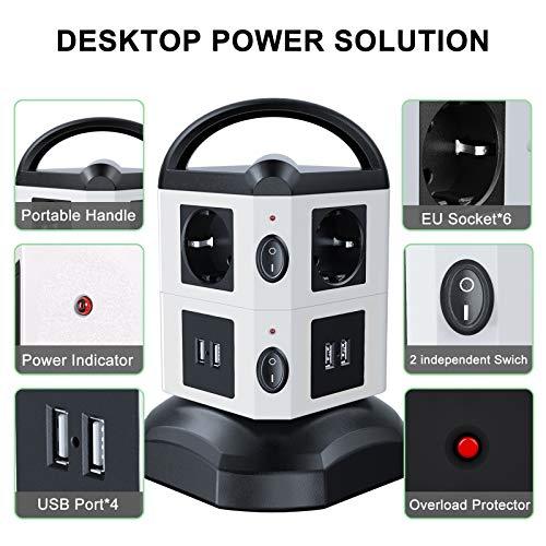 Tour Multiprise Parasurtenseur & Parafoudre - 6 Prises Électrique (2500W/10A), 4 Ports USB et 2 Interrupteurs (Vendeur tiers)