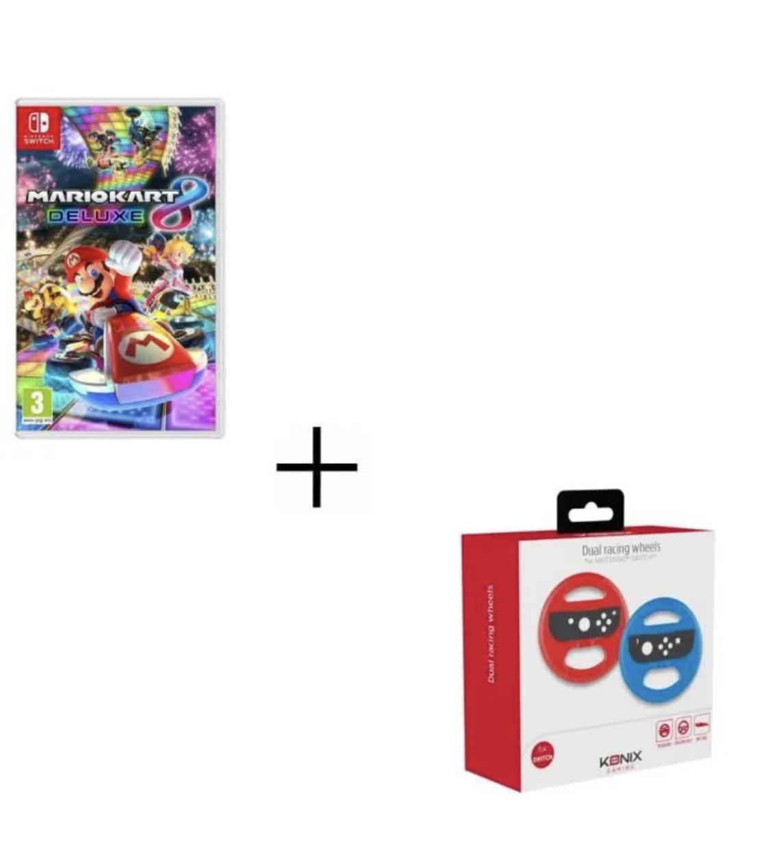Jeu Mario Kart 8 Deluxe Jeu sue Switch + 2 Volants Konix