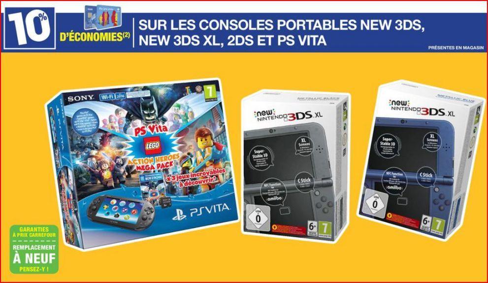 10% crédités sur la carte de fidélité pour l'achat d'une console portable (Nintendo 2DS, New 3DS, New 3DS XL et PlayStation Vita)