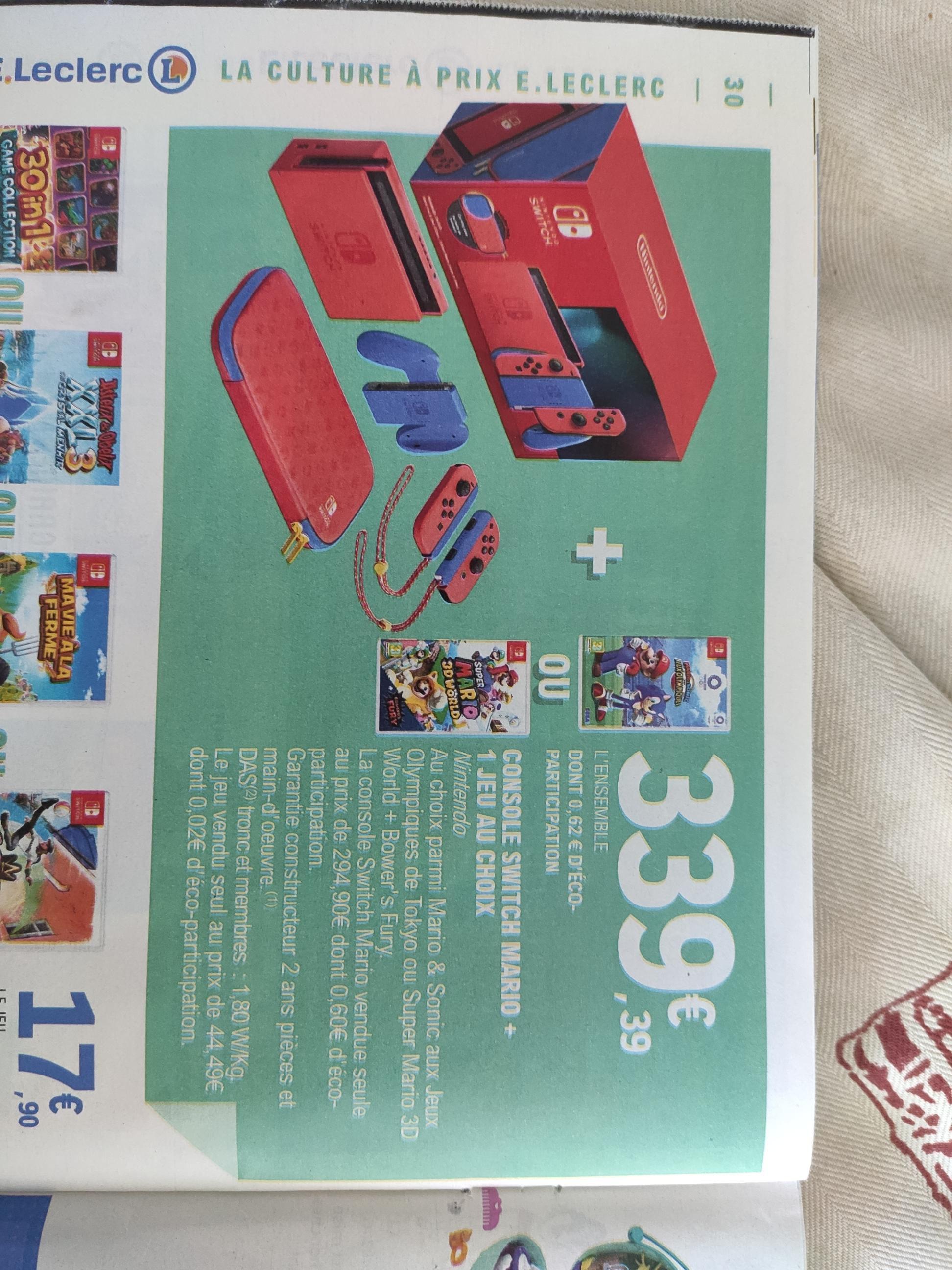 Console Nintendo Switch (Édition Limitée Mario) + Mario & Sonic aux Jeux Olympiques de Tokyo ou Super Mario 3D World + Bowser's Fury