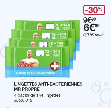 [Carte CostCo] Lot de 4 paquets de 144 lingettes anti-bactériennes Mr. Propre (4x144) - Villebon-sur-Yvette (91)