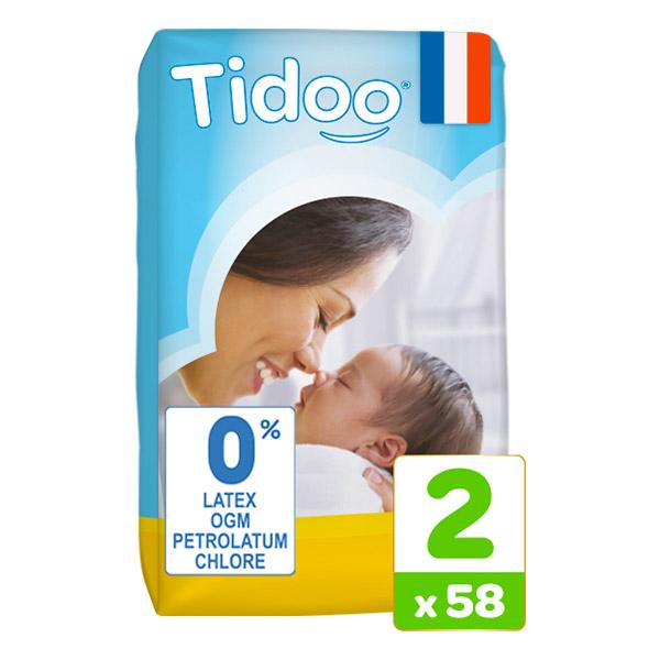 Lot de 3 paquets de 58 couches hypoallergéniques Tidoo Nature - taille 2