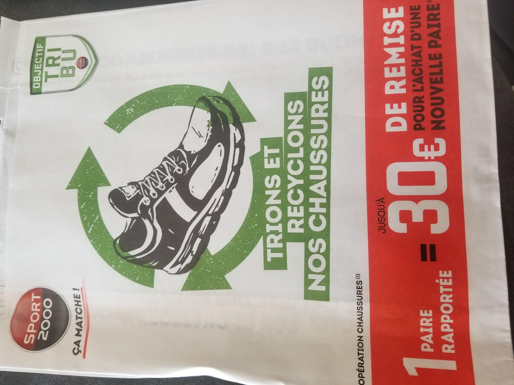 30€ de réduction dès 120€ sur une paire de chaussures, 20€ dès 60€ d'achat ou 10€ dès 40€ d'achat - contre une ancienne paire