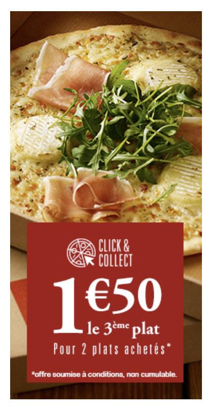 1,50€ pour le 3ème plat acheté (dans les restaurants participants Pizza Del Arte)