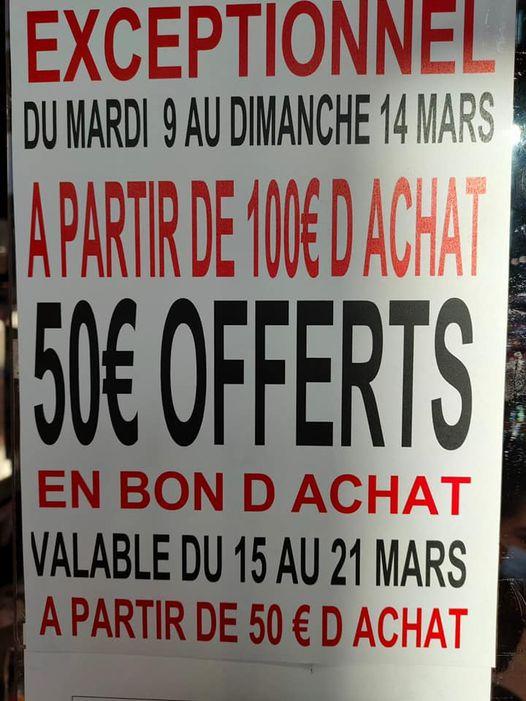 50€ offerts en bon d'achat dès 100 € de courses (valable à partir de 50€) - La Sentinelle (59)