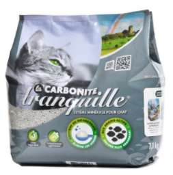 Litière agglomérante pour chat Carbonite Tranquille - au bicarbonate de soude et charbon actif, 7.1 kg