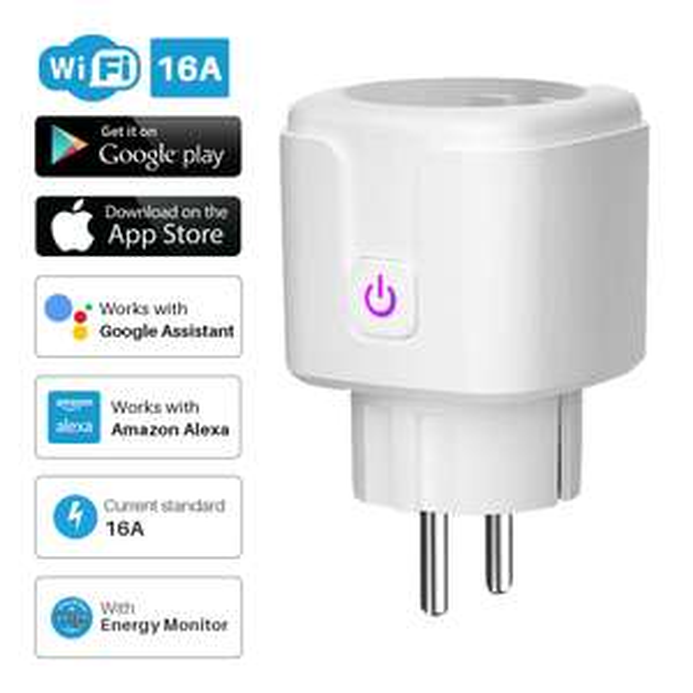 Prise connectée WiFi Vikefon - UE, 16A, Télécommande vocale, Moniteur d'énergie, Minuterie, Compatible Alexa & Google Home
