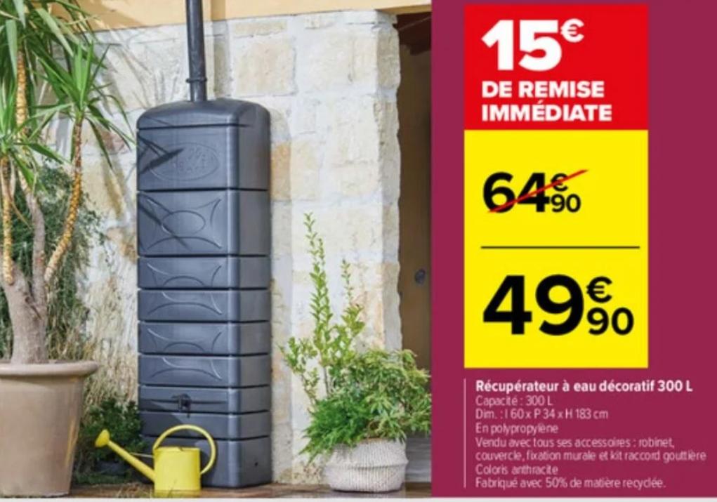 Récupérateur d'eau de pluie Belli (300L, Anthracite) + Kit Raccord + Accessoires