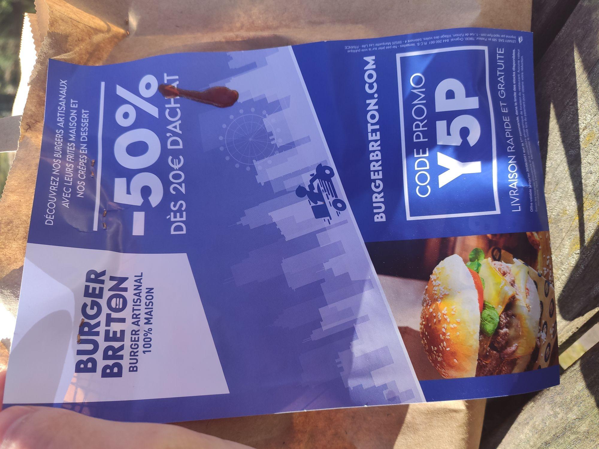 [Nouveaux clients] 50% de réduction dès 20€ d'achat sur une première commande en livraison - Burger Breton (78)