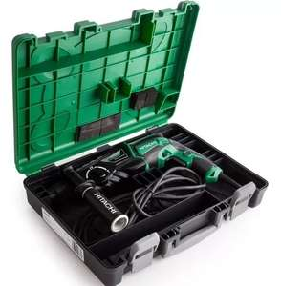 Perforateur filaire Hikoki / Hitachi DH26PB2 WSZ (3.2J, 830W, SDS Plus) + Poignée auxiliaire + Butée de profondeur + Coffret de transport