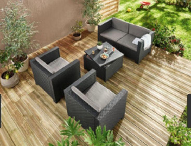 Salon de jardin Diva avec table basse et coffre