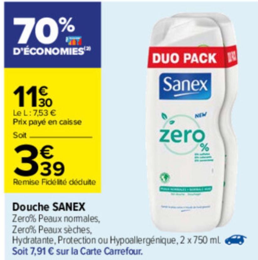 Lot de 2 Gels douche Sanex - 2x 750ml (Via 7.91€ sur Carte Fidelité)