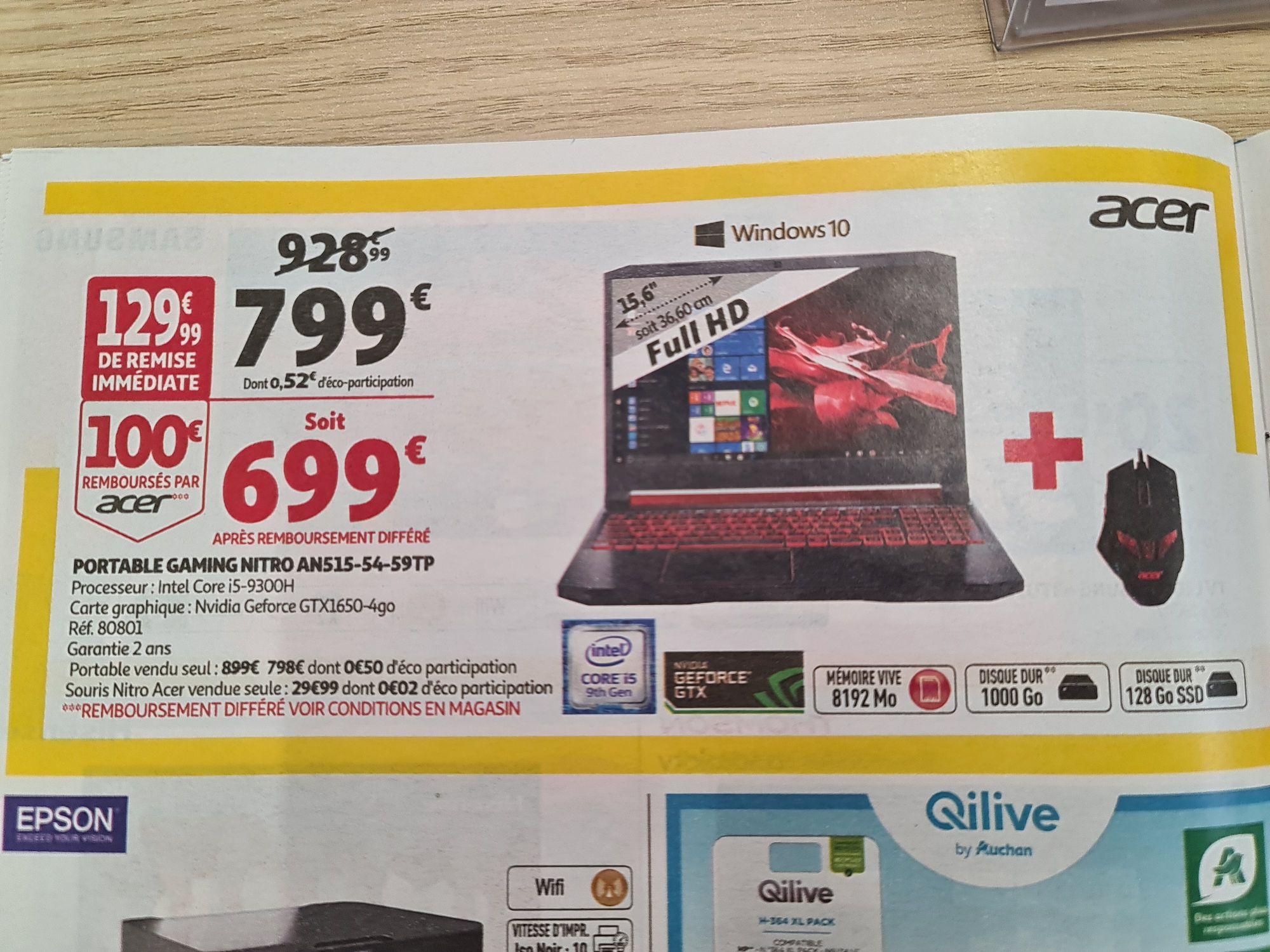 """PC Portable 15.6"""" Acer AN515-54-59TP - i5-9300H, HDD 1 To + SSD 128 Go, Geforce GTX 1650 4 Go + Souris Nitro (Via ODR 100€)"""