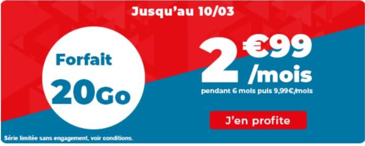 Forfait mensuel Auchan Télécom appels/SMS/MMS illimités + 20 Go de DATA & 1 Go en EU/DOM - pendant 6 mois (sans engagement)