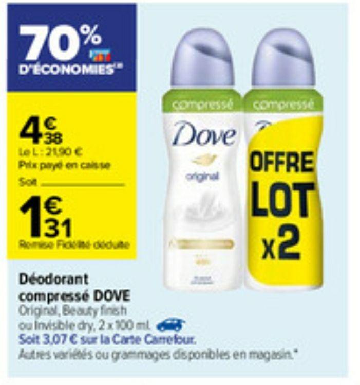 Lot de 2 déodorants compressés Dove - 2 x 100 ml (via 3.07€ sur la carte fidélité)