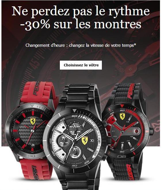 30% de réduction sur toutes les montres