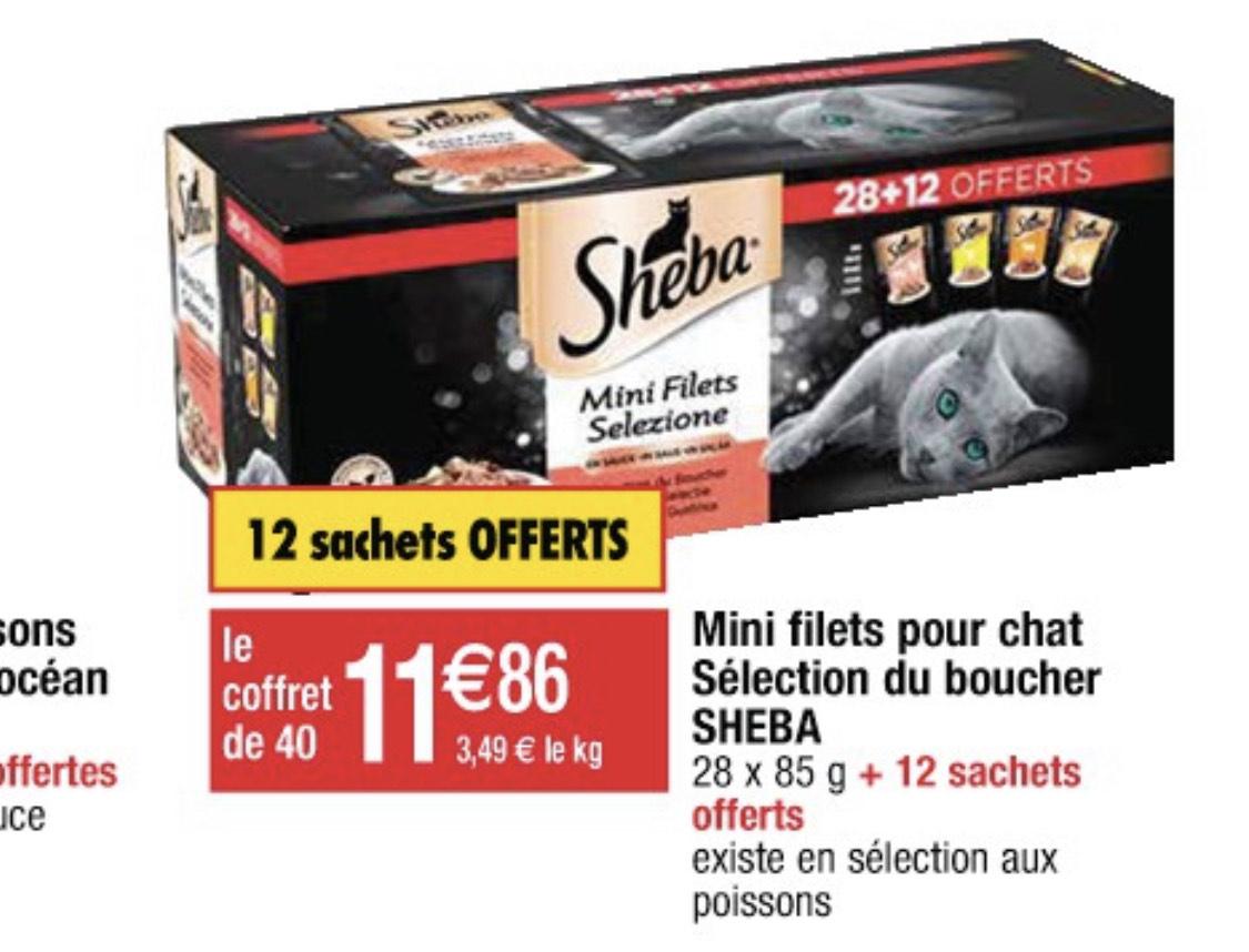 Coffret de 40 boîtes de nourriture pour chat Sheba Mini Filets du Boucher ou Poissons