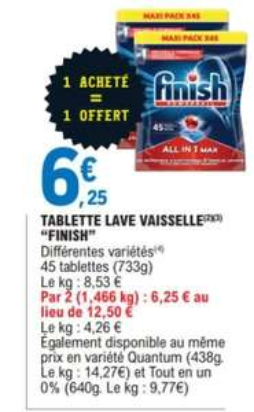 Lot de 2 paquets de tablettes pour lave-vaisselle Finish PowerBall All-in-1 Max (2x45 Lavages)