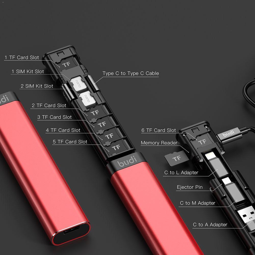 Stick adaptateur USB / USB type-C & rangement pour 6 cartes SD et 2 cartes SIM Budi - noir ou rouge
